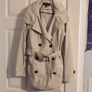 Longer cream rain jacket